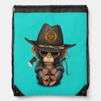 Baby Chimp Zombie Hunter Drawstring Backpack