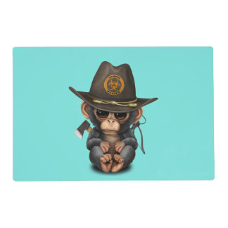 Baby Chimp Zombie Hunter Placemat