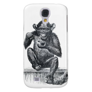 Baby chimpanzee monkey vintage drawing samsung galaxy s4 cover