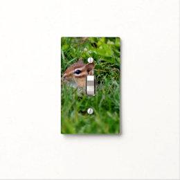 Baby Chipmunk Peeking Animal Light Switch Cover