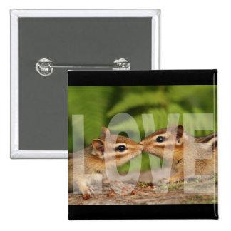 Baby Chipmunks Love Design Pinback Button