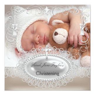 Baby Christening Baptism Girl Boy Silver Cross Card