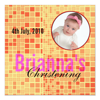 "Baby Christening Invitation Mosaic Red 5.25"" Square Invitation Card"