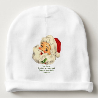 Baby Christmas Beanie or Hat w/ Santa Image & Note