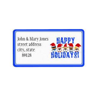 Baby Christmas Carolers - Happy Holidays Address Label