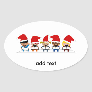 Baby Christmas Carolers Oval Stickers