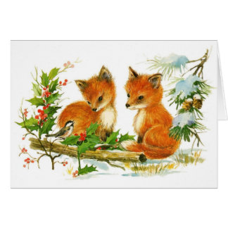 Baby Christmas Foxes And Bird With Holly Card