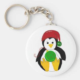 Baby Christmas Penguin Basic Round Button Keychain