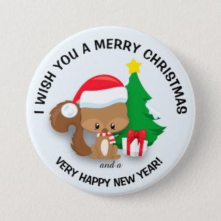 Baby Christmas Squirrel Santa Hat  Merry Christmas Pinback Button