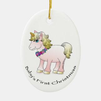 Baby Christmas Unicorn Double-Sided Oval Ceramic Christmas Ornament