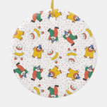 Baby Circus Animals Illustration Pattern Double-Sided Ceramic Round Christmas Ornament