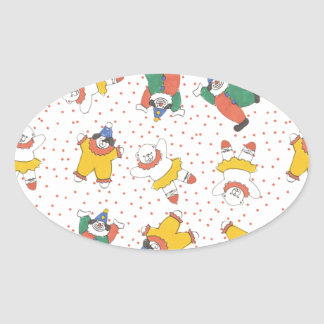Baby Circus Animals Illustration Pattern Oval Stickers