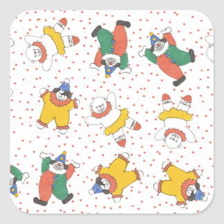 Baby Circus Animals Illustration Pattern Square Stickers