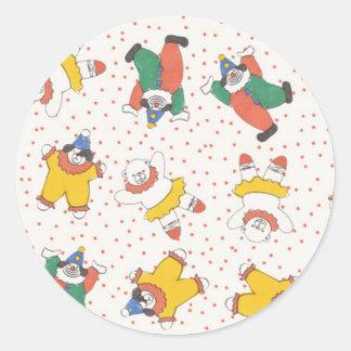 Baby Circus Animals Illustration Pattern Round Sticker
