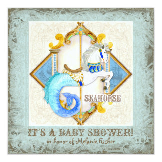 Baby Circus Fantasy Seahorse Carousel Vintage 5.25x5.25 Square Paper Invitation Card