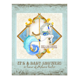 Baby Circus Fantasy Seahorse Carousel Vintage Custom Announcements