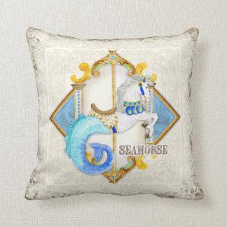 Baby Circus Fantasy Seahorse Carousel Vintage Throw Pillow