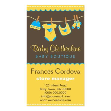 Cute Yellow and Brown Baby Clothes on a Clothesline Baby Boutique Custom Printed Business Cards Template