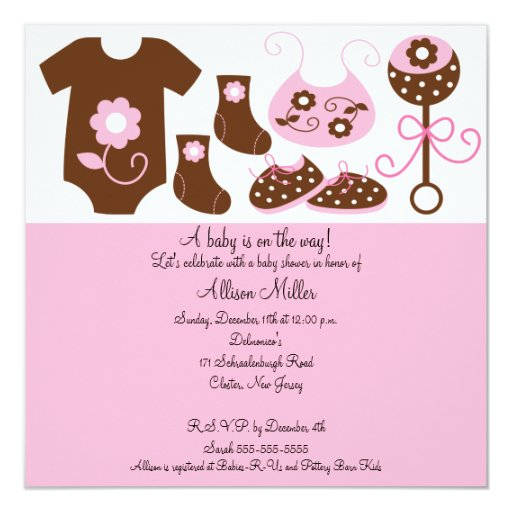 Baby clothes girl baby shower invitation zazzle