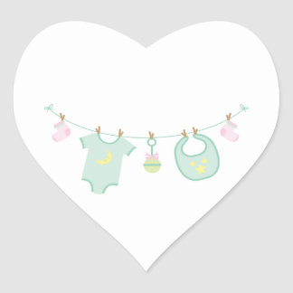 Baby Clothes Heart Sticker