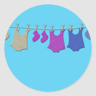 Baby Clothes Line Classic Round Sticker