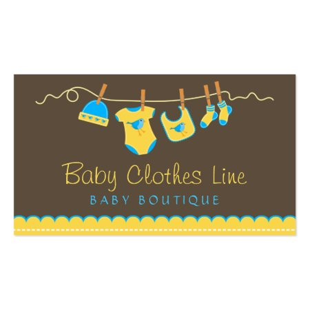 Cute Yellow and Blue Baby Clothes Hanging on Clothesline Chocolate Brown Baby Boutique Baby or Store Business Cards Template