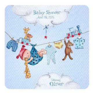 "Baby clothesline Baby Shower invitation Boy 5.25"" Square Invitation Card"