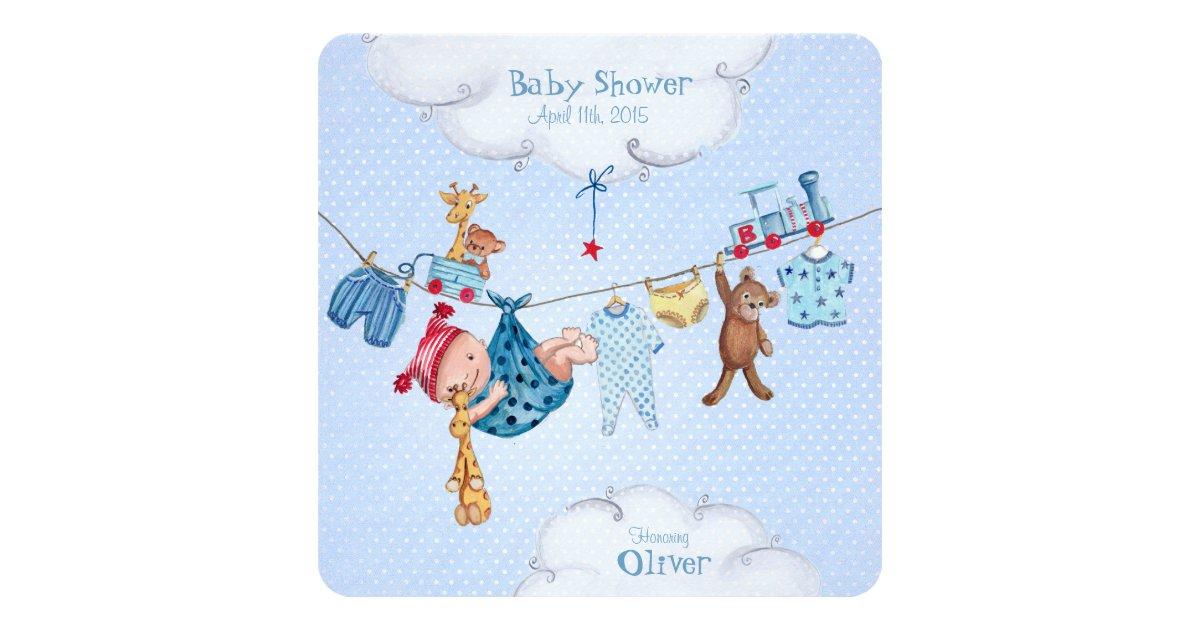 baby clothesline baby shower invitation boy zazzle