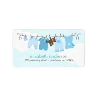 Baby Clothesline {blue} Address Label