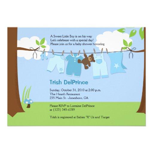 Baby clothesline blue boy 5x7 baby shower custom invitation from