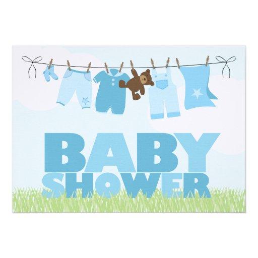 baby clothesline blue boys baby shower invites zazzle