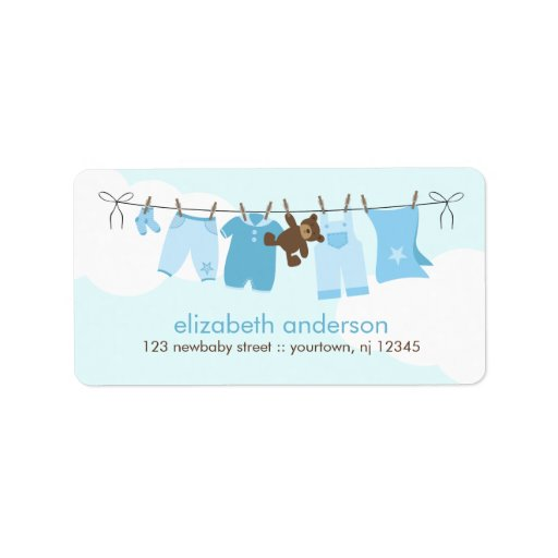 Baby Clothesline {blue} Personalized Address Labels