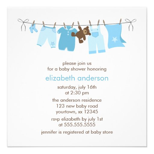 baby clothesline boy baby shower blue custom announcement zazzle