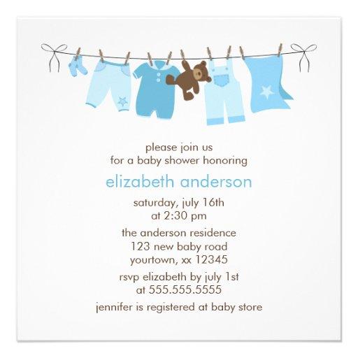 baby clothesline boy baby shower blue custom announcement zazzle