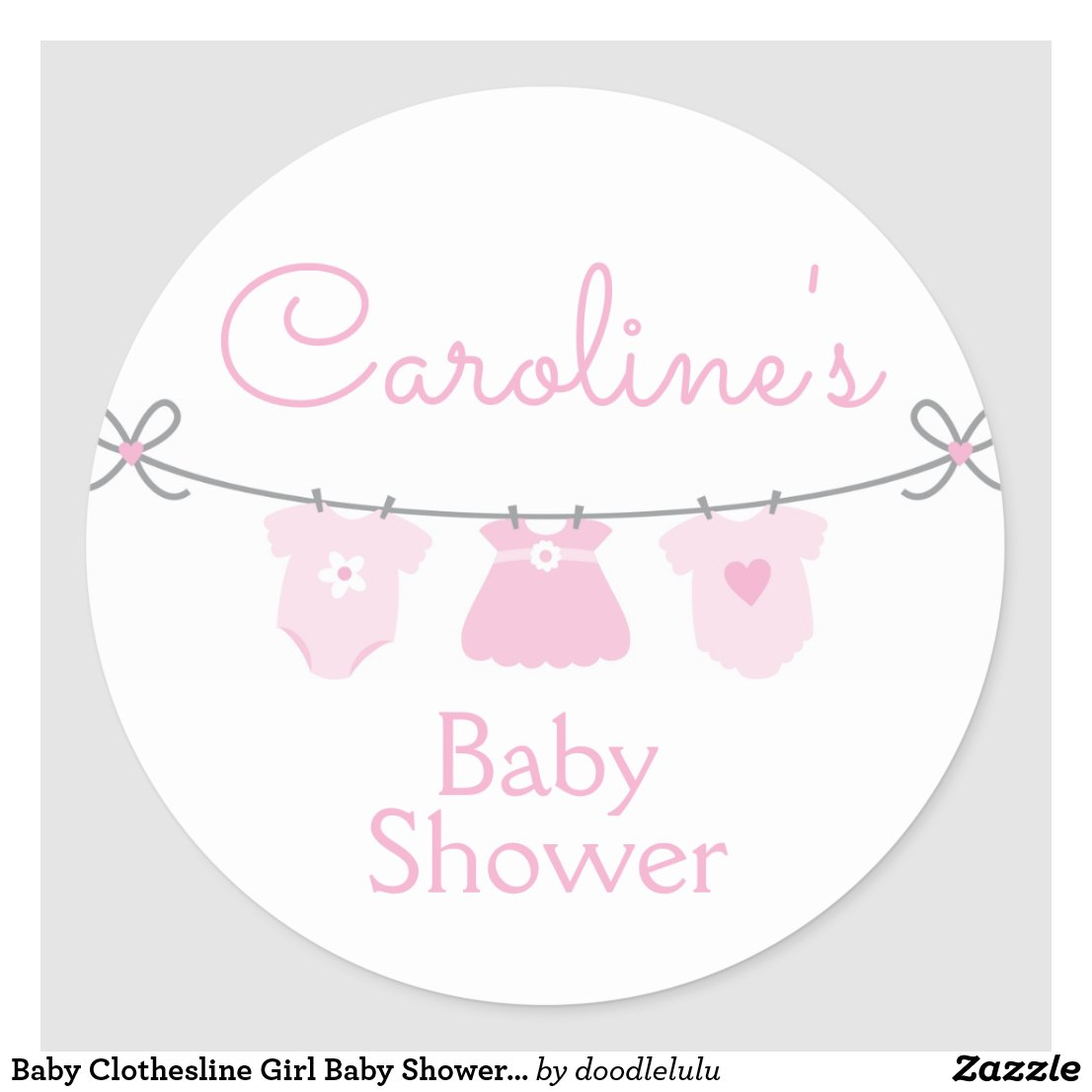 Baby Clothesline Girl Baby Shower Sticker, Pink Classic Round Sticker
