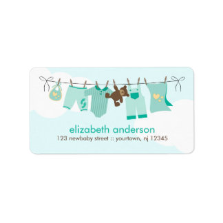 Baby Clothesline {green} Address Label