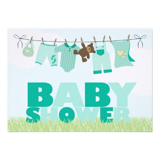 baby clothesline green neutral baby shower invitation zazzle