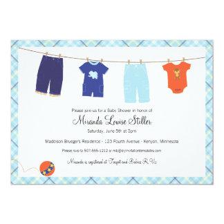 Baby Clothesline Invitationn - Boy Card