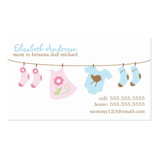 Baby clothesline mommy calling cards business card zazzle for Business calling cards