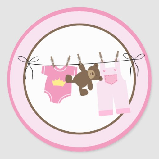 Baby Clothesline (Pink) Envelope Seals