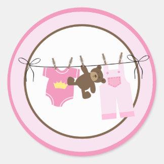 Baby Clothesline (Pink) Envelope Seals Classic Round Sticker