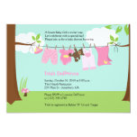 Baby Clothesline Pink Girl 5x7 Baby Shower 5x7 Paper Invitation Card