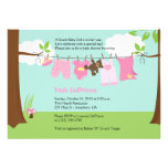 Baby Clothesline Pink Girl 5x7 Baby Shower Custom Announcements
