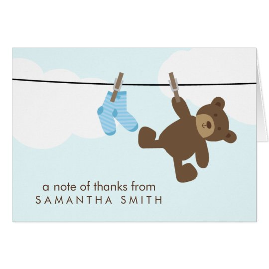 Baby Clothesline Thank You Notes {blue}