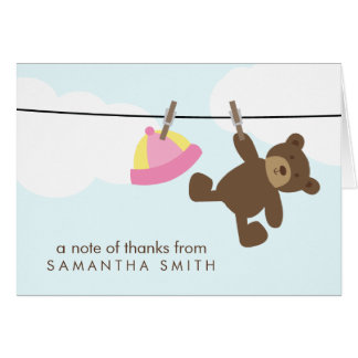 Baby Clothesline Thank You Notes {pink}