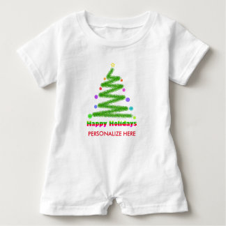 BABY CLOTHING - HAPPY HOLIDAYS CHRISTMAS TREE ART BABY ROMPER