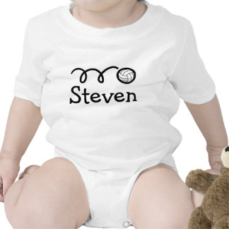Baby clothing with name and cute volleyball print t-shirts