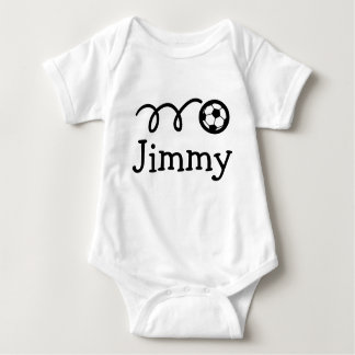Baby clothing with name and soccer ball print baby bodysuit