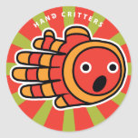 Hand shaped Baby Clown Fish Classic Round Sticker