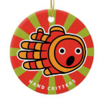 Hand shaped Baby Clown Fish Double-Sided Ceramic Round Christmas Ornament